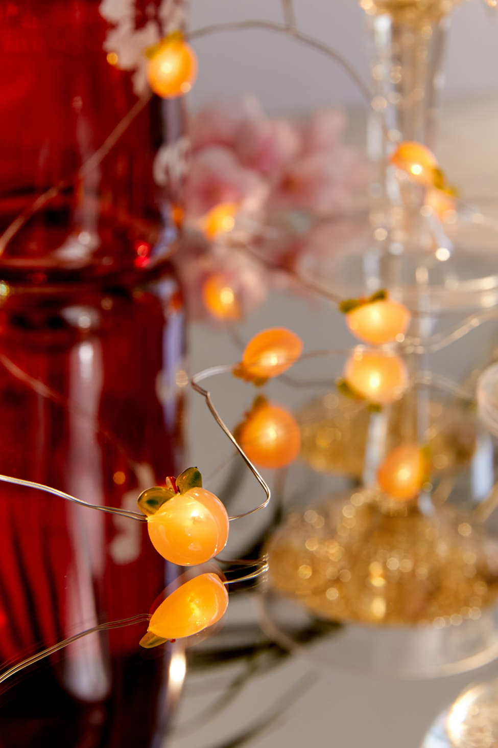 Slide View: 2: Peach Battery Powered String Lights