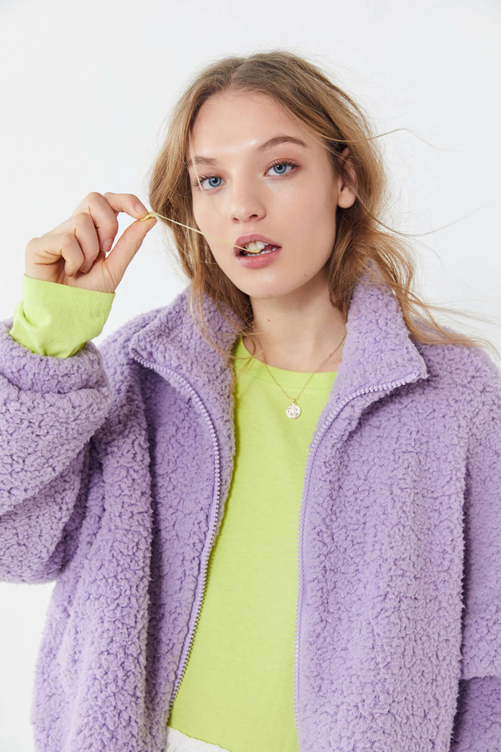 Uo Willow Fuzzy Drawstring Teddy Jacket Urban Outfitters