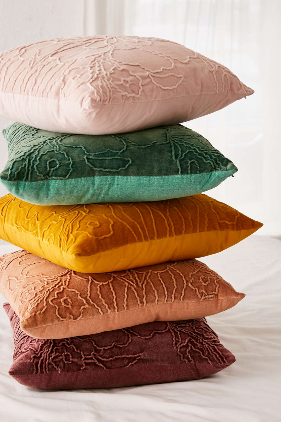 Slide View: 3: Jaya Floral Embroidered Velvet Throw Pillow