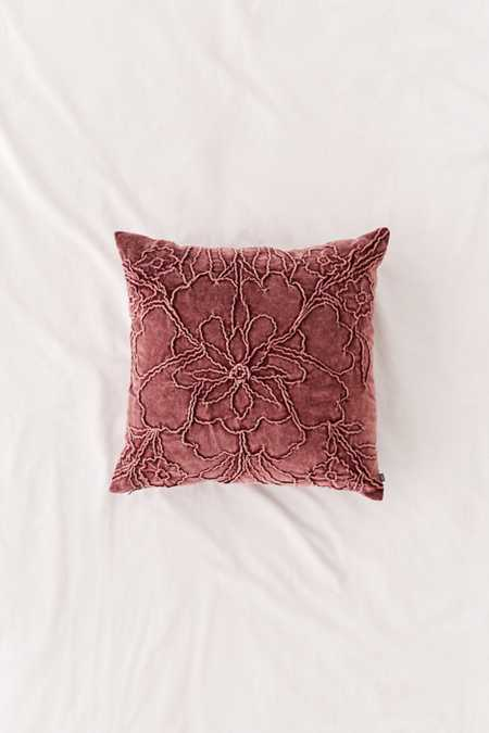 Jaya Floral Embroidered Velvet Throw Pillow
