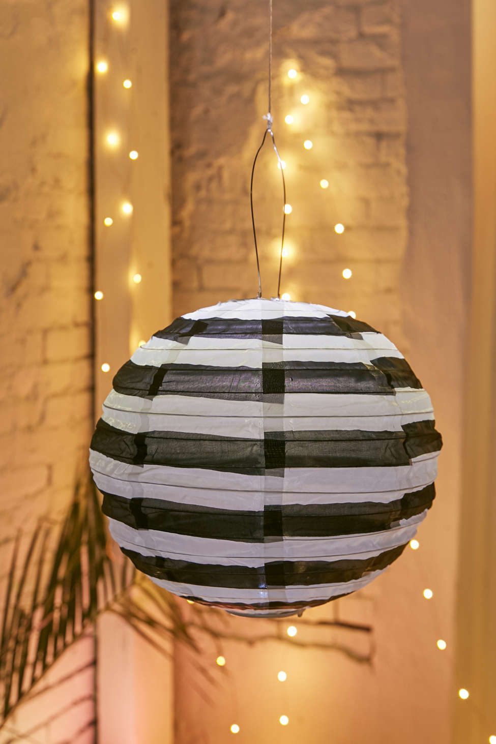 Slide View: 1: Sojiâ?¢ Black + White 14â?� Striped Round Solar Lantern