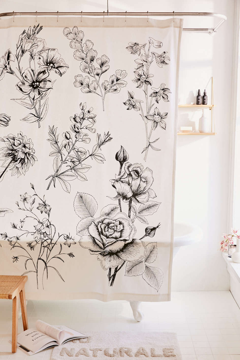 Slide View: 1: Makenna Etched Floral Shower Curtain