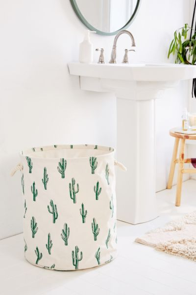 Cactus Block Print Canvas Laundry Bag by Urban Outfitters