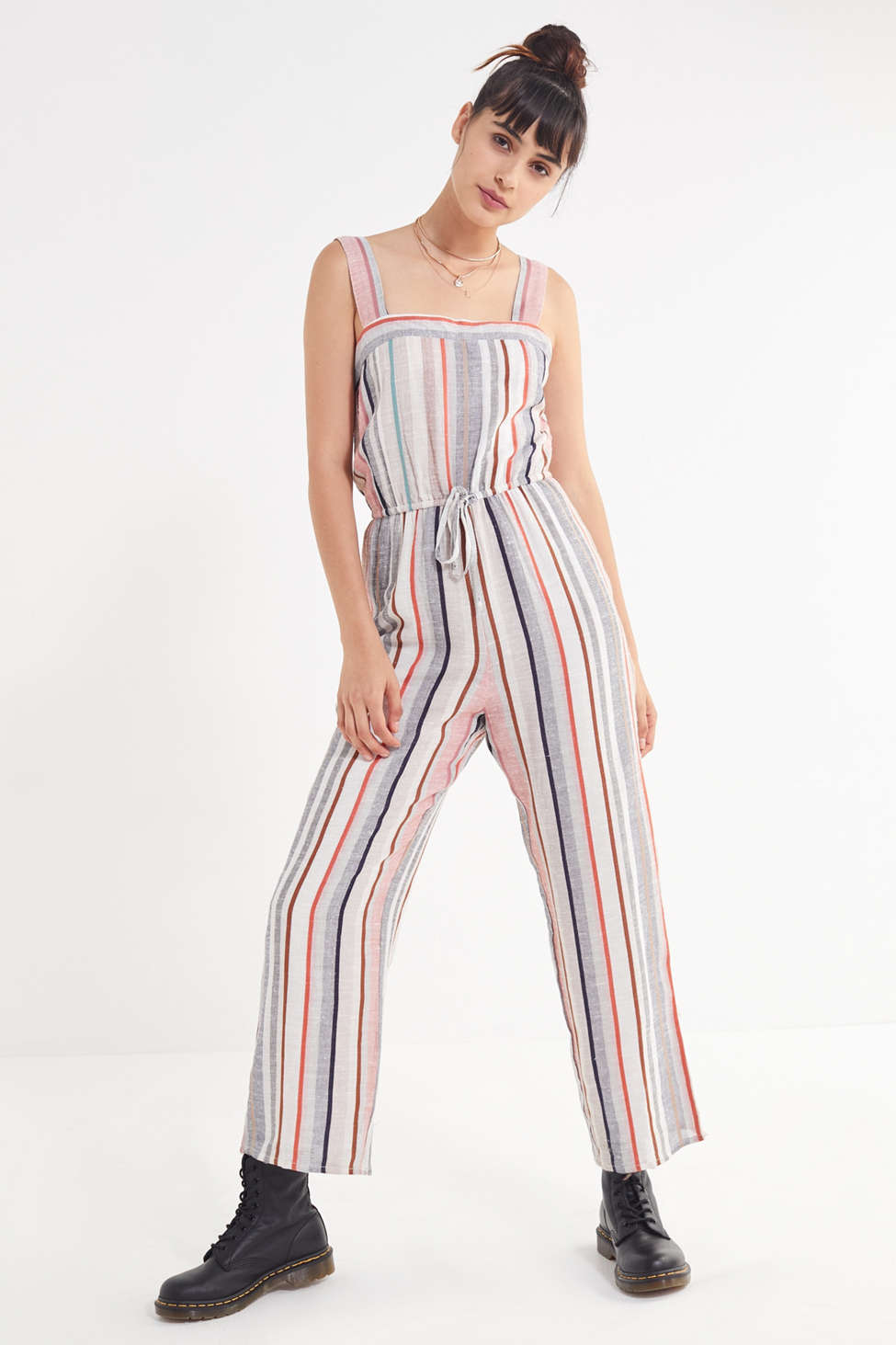 Uo Striped Linen Jumpsuit Urban Outfitters
