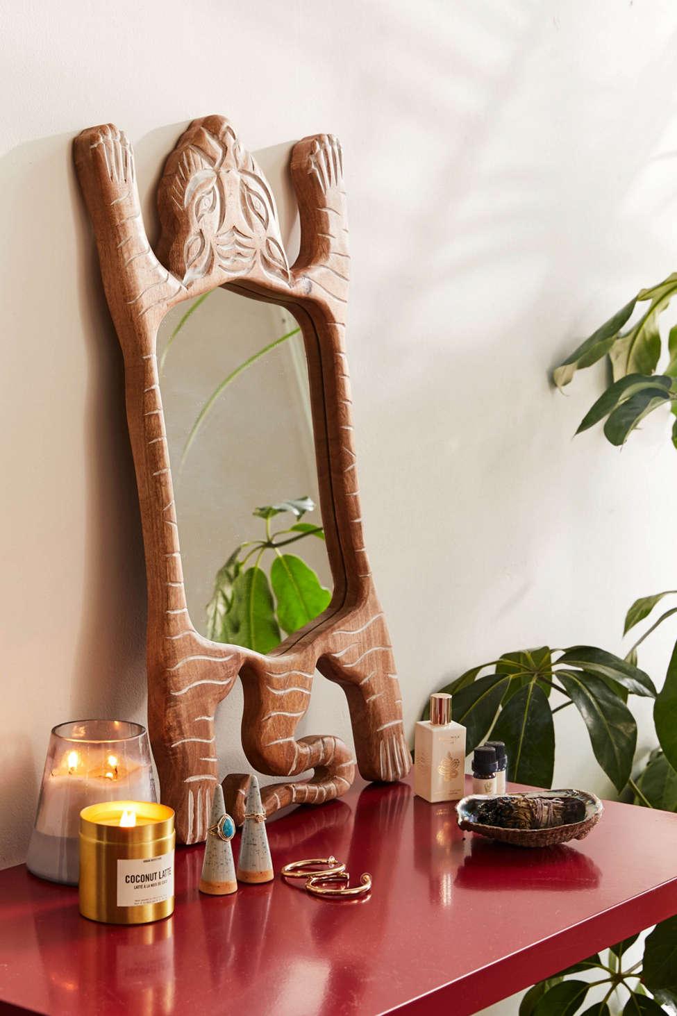 Slide View: 1: Tiger Wooden Mirror