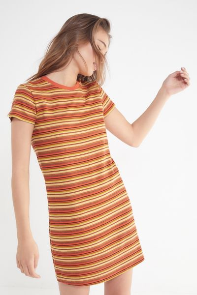 Uo Striped Ringer T Shirt Dress by Urban Outfitters