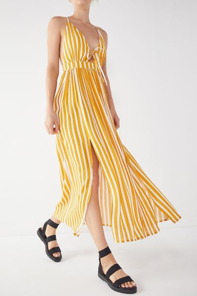 Uo Tie Front Striped Maxi Dress by Urban Outfitters