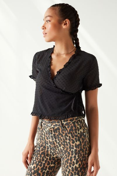 Uo Ladan Swiss Dot Wrap Top by Urban Outfitters