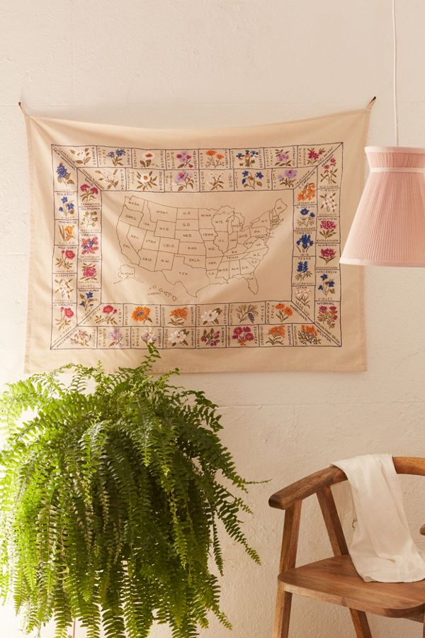 State Flower Embroidered Tapestry Urban Outfitters