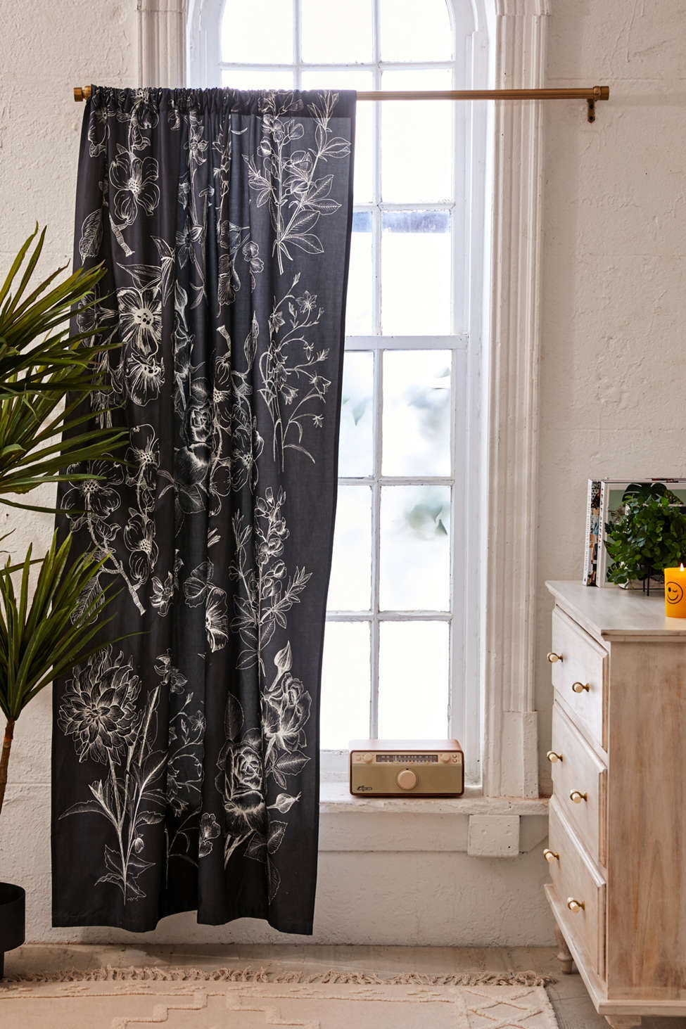 Slide View: 1: Makenna Etched Floral Blackout Window Curtain