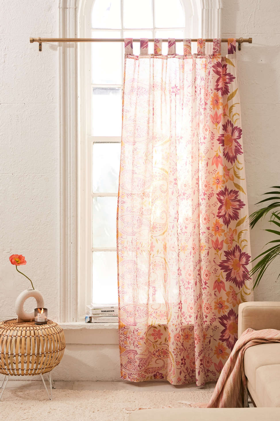 Slide View: 1: Sylvia Paisley Window Panel