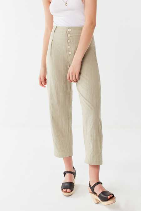 UO Maria Button-Fly Tapered Trouser