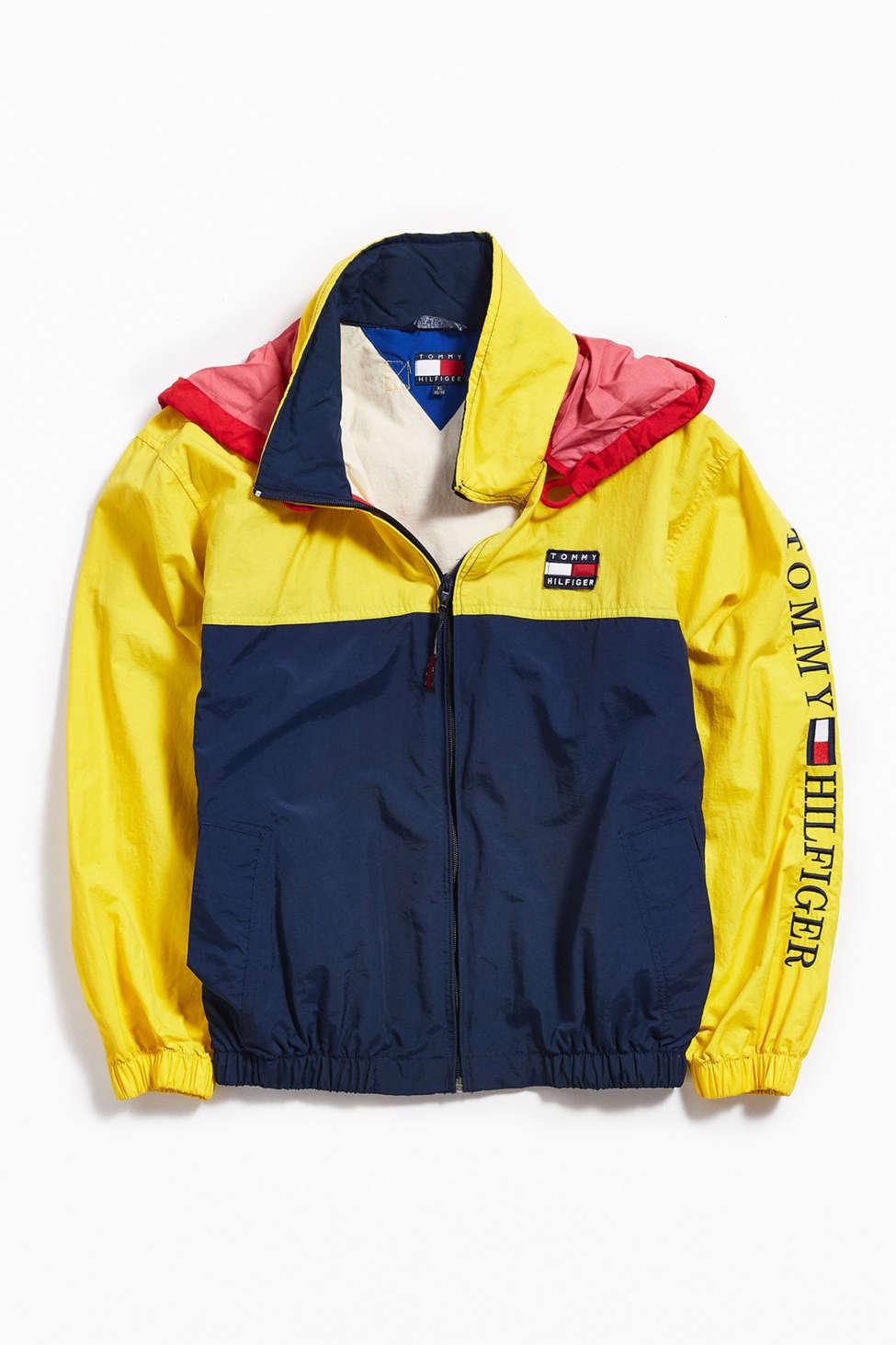 Vintage Tommy Hilfiger Yellow Navy Windbreaker Jacket Urban