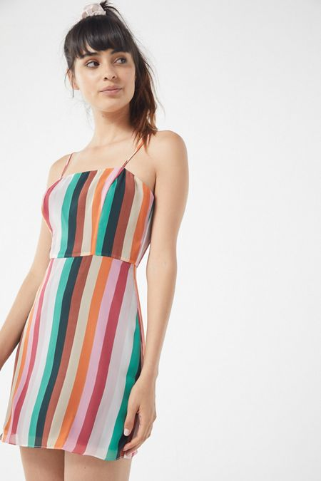 140c83ff1539 UO Vertical Rainbow Striped Mini Dress
