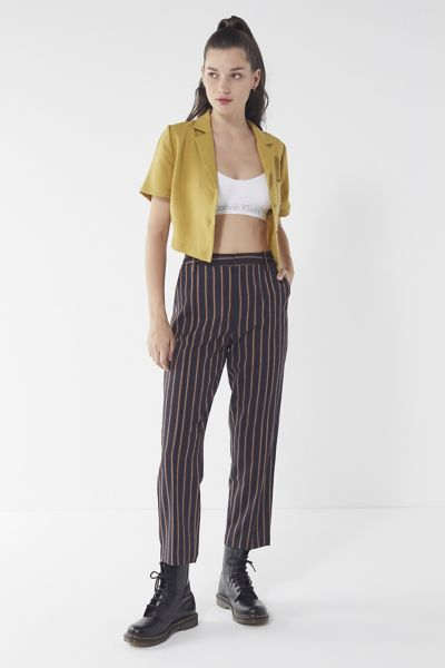Uo Dana Striped Mid Rise Trouser Pant by Urban Outfitters