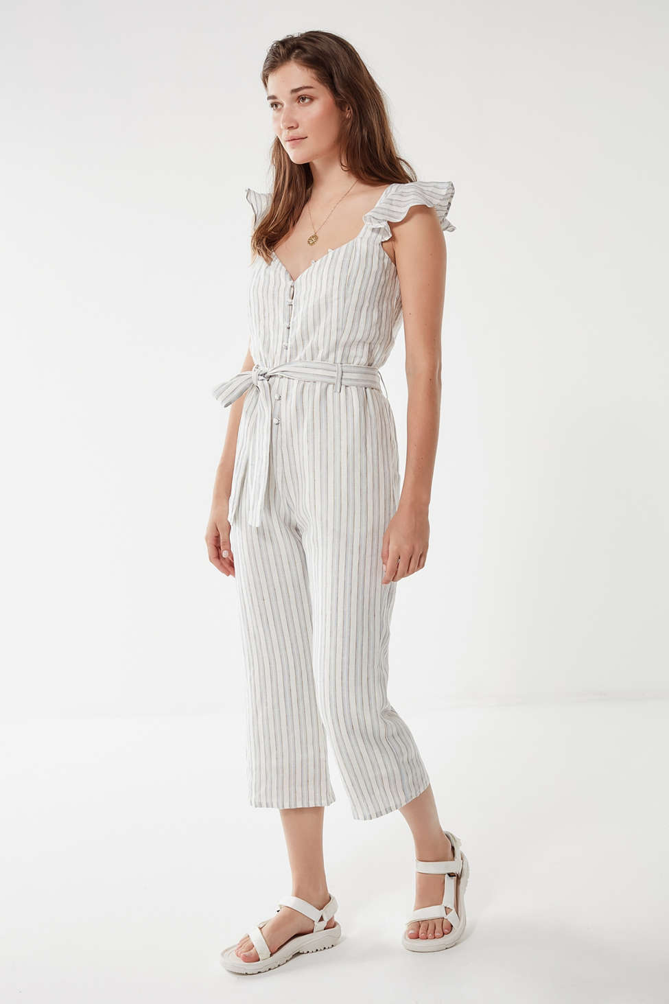 Heartloom Zander Ruffle Sleeve Striped Jumpsuit Urban Outfitters
