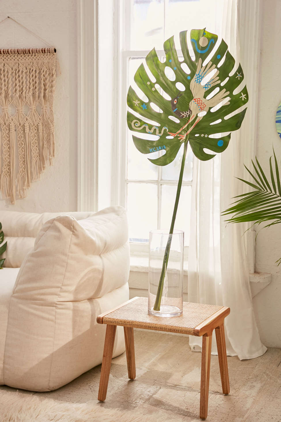 Slide View: 2: Kris Chau For UO Hand-Painted White Bird Faux Leaf