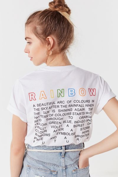 Uo Embroidered Rainbow Tee by Urban Outfitters