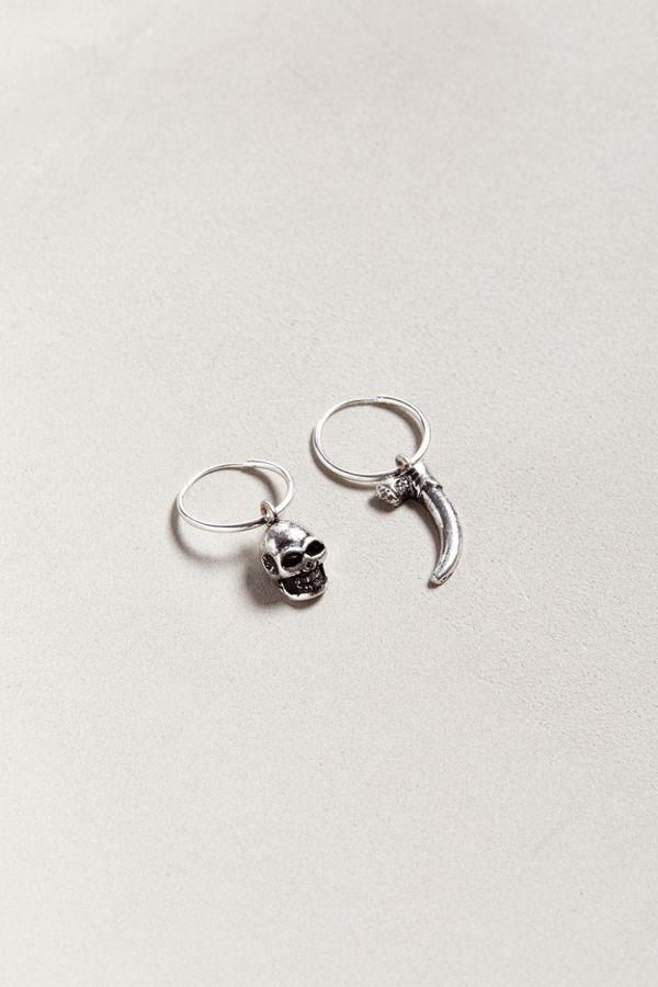 Slide View 1 Riakoob Silver Skull Dangle Hoop Earring