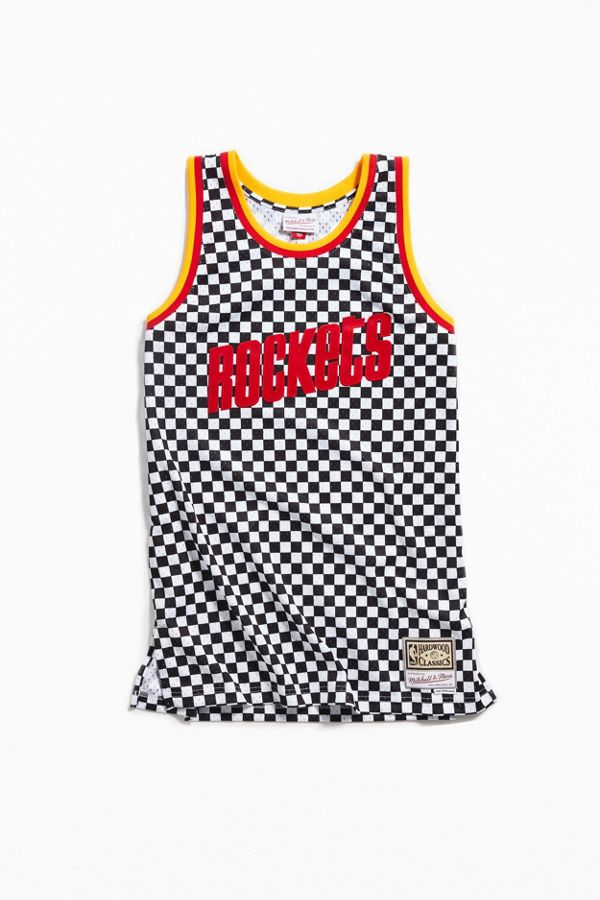 Mitchell   Ness Houston Rockets Checkered Swingman Basketball Jersey ... 8e806d8602d1
