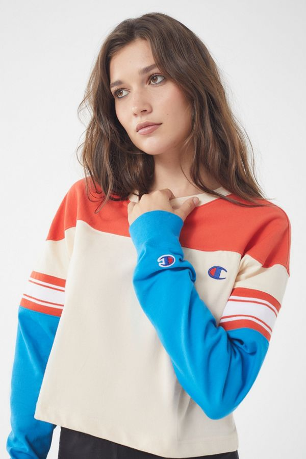 slide view 1 champion uo colorblock long sleeve tee