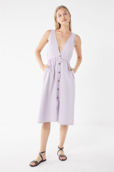 e54c8fb552 Shoptagr | Uo Danny Plunging Button Down Denim Midi Dress by Urban ...