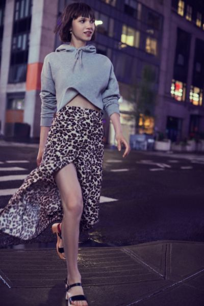 Uo Leopard Print Button Down Midi Skirt by Urban Outfitters