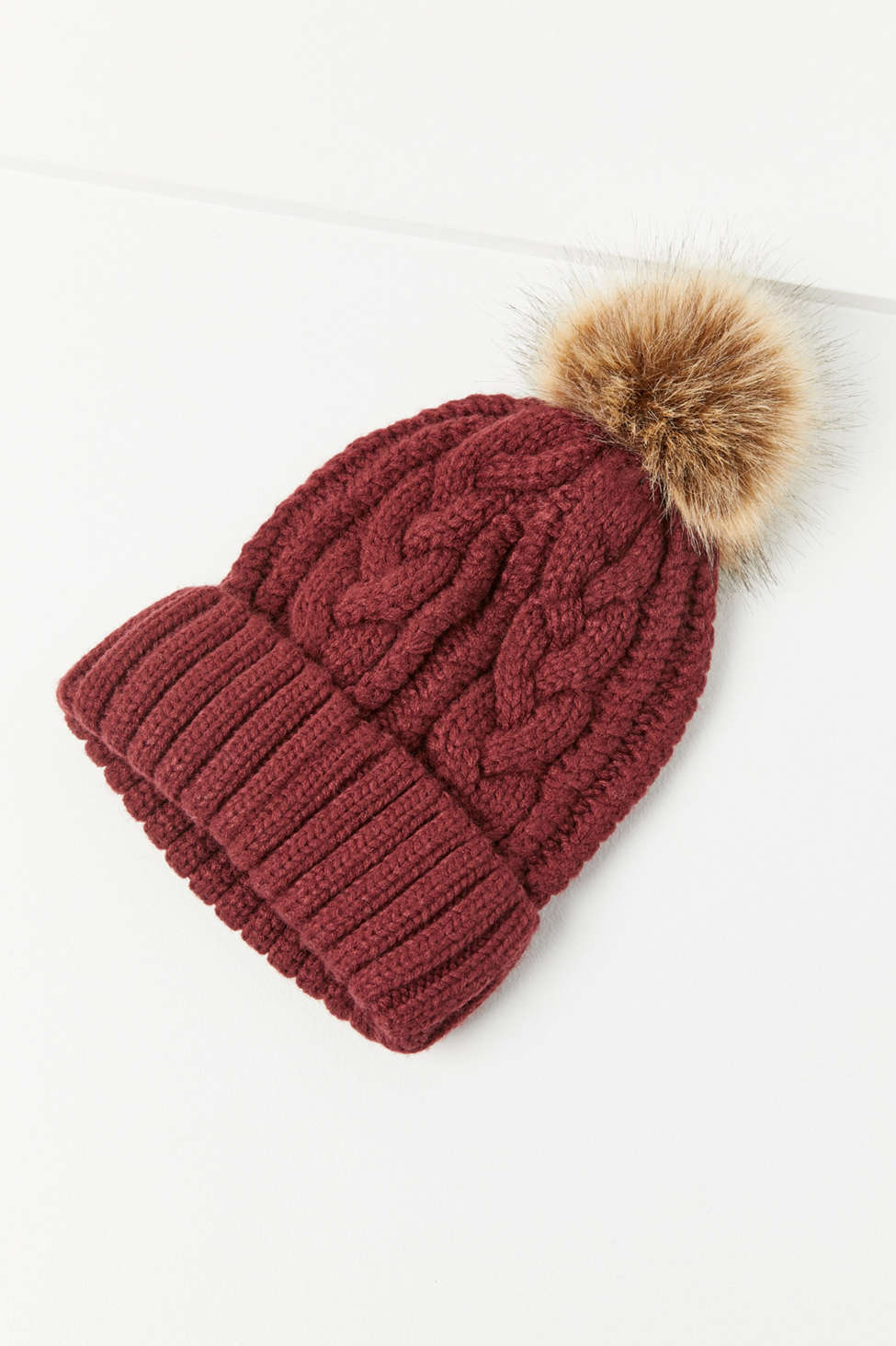 Cable Knit Fur PomPom Beanie