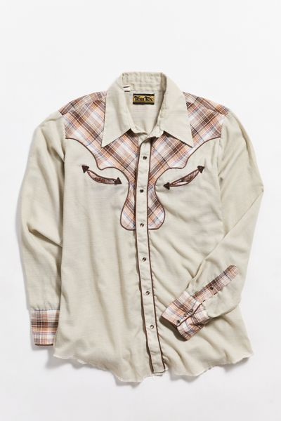 Vintage Tem Tex Plaid Patch Western Shirt by Urban Outfitters Vintage
