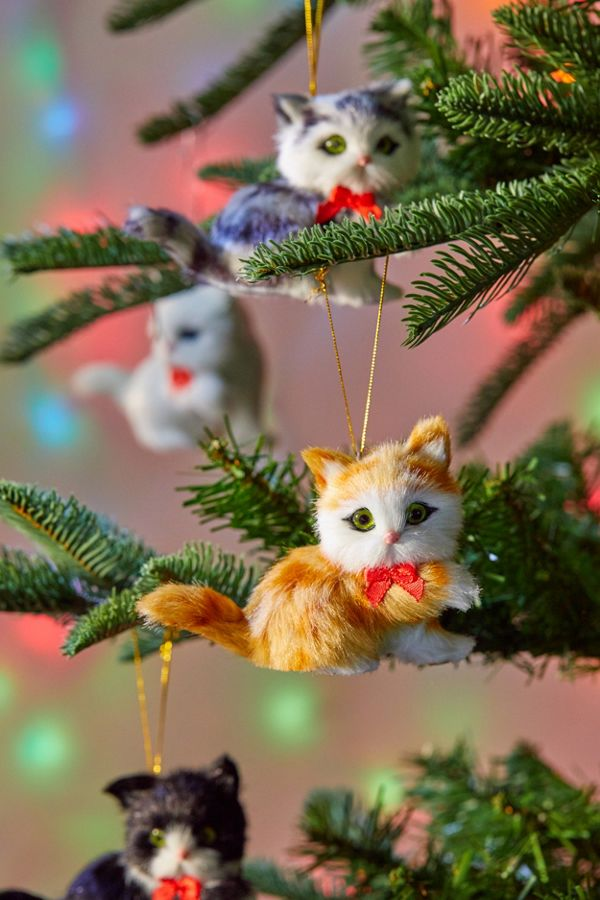 Slide View: 1: Assorted Furry Cat Christmas Ornament - Assorted Furry Cat Christmas Ornament Urban Outfitters