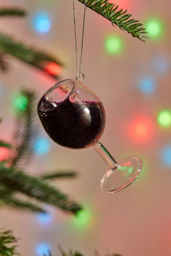 Get Our Emails - Red Wine Glass Christmas Ornament Urban Outfitters