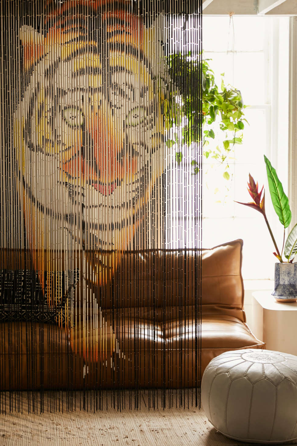Slide View: 2: Tiger Bamboo Beaded Curtain