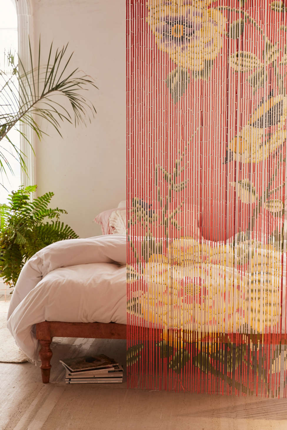 Slide View: 1: Floral Bamboo Beaded Curtain