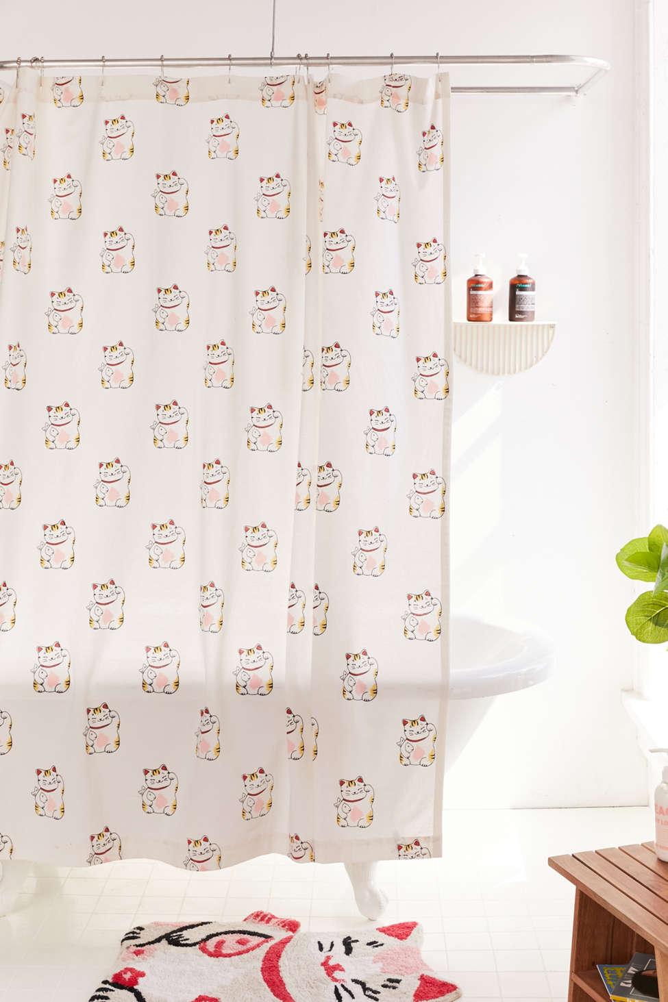Slide View: 1: Lucky Cat Shower Curtain