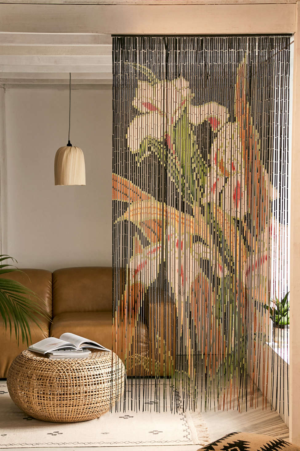 Slide View: 1: Iris Bamboo Beaded Curtain