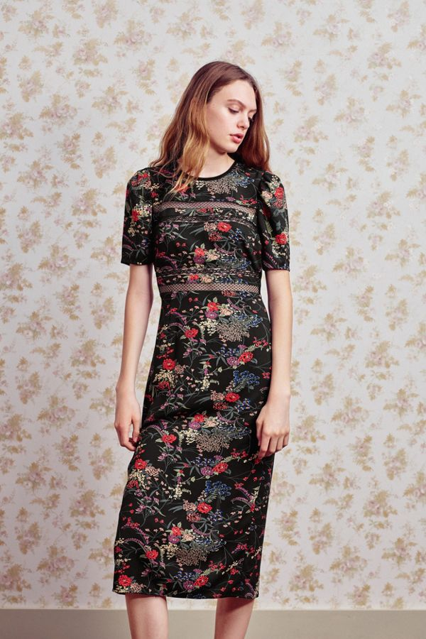 Uo Emma Marie Lace Trim Midi Dress Urban Outfitters