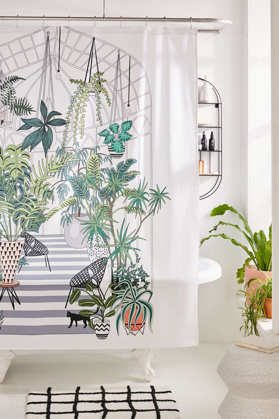 Slide View: 1: Anyuka For Deny Greenhouse Illustration Shower Curtain