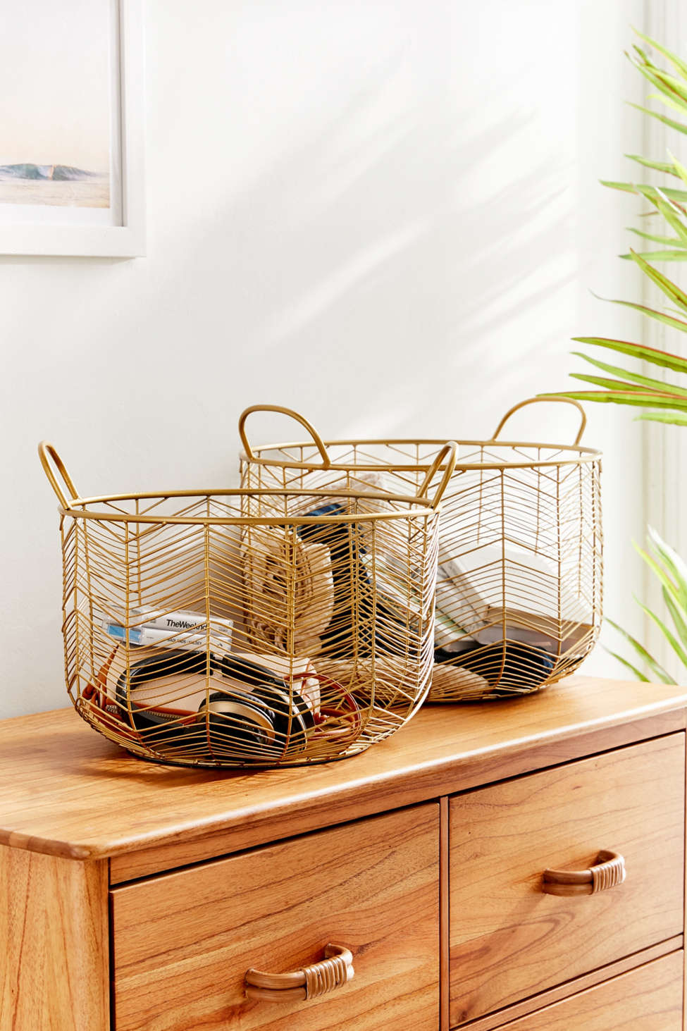 Slide View: 2: Louise Metal Basket - Set Of 2