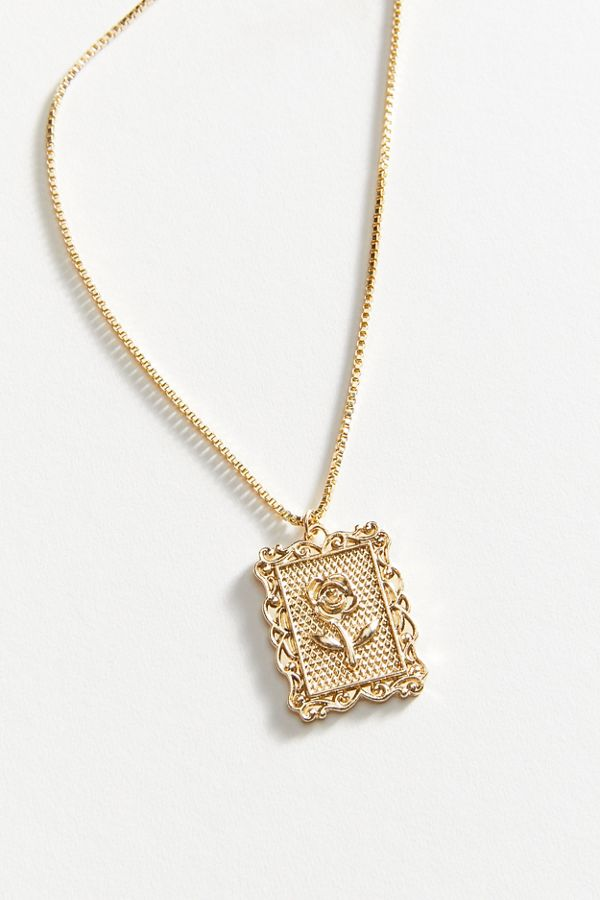 Rose frame pendant necklace urban outfitters slide view 2 rose frame pendant necklace aloadofball Choice Image