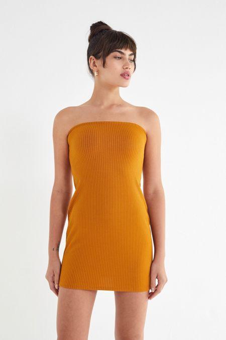 17c65185844 UO Heather Ribbed Knit Tube Dress