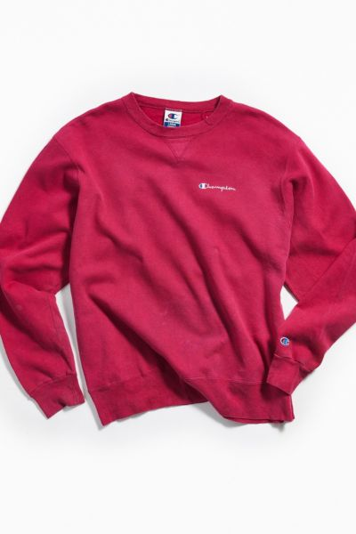 Vintage Champion Red Crew Neck Sweatshirt by Urban Outfitters Vintage