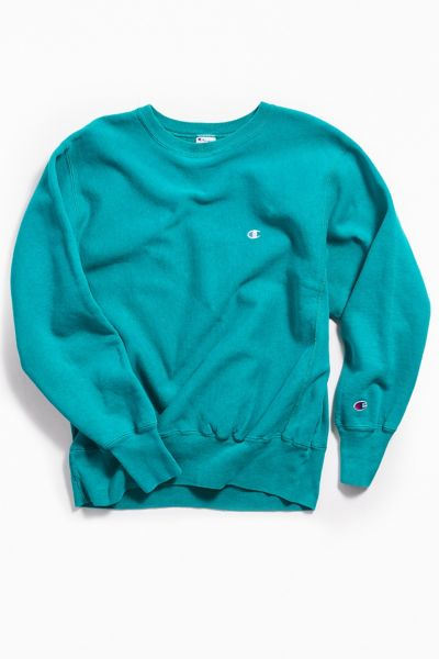 Vintage Champion Turquoise Crew Neck Sweatshirt by Urban Outfitters Vintage