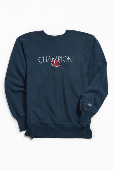Vintage Champion Navy Crew Neck Sweatshirt by Urban Outfitters Vintage
