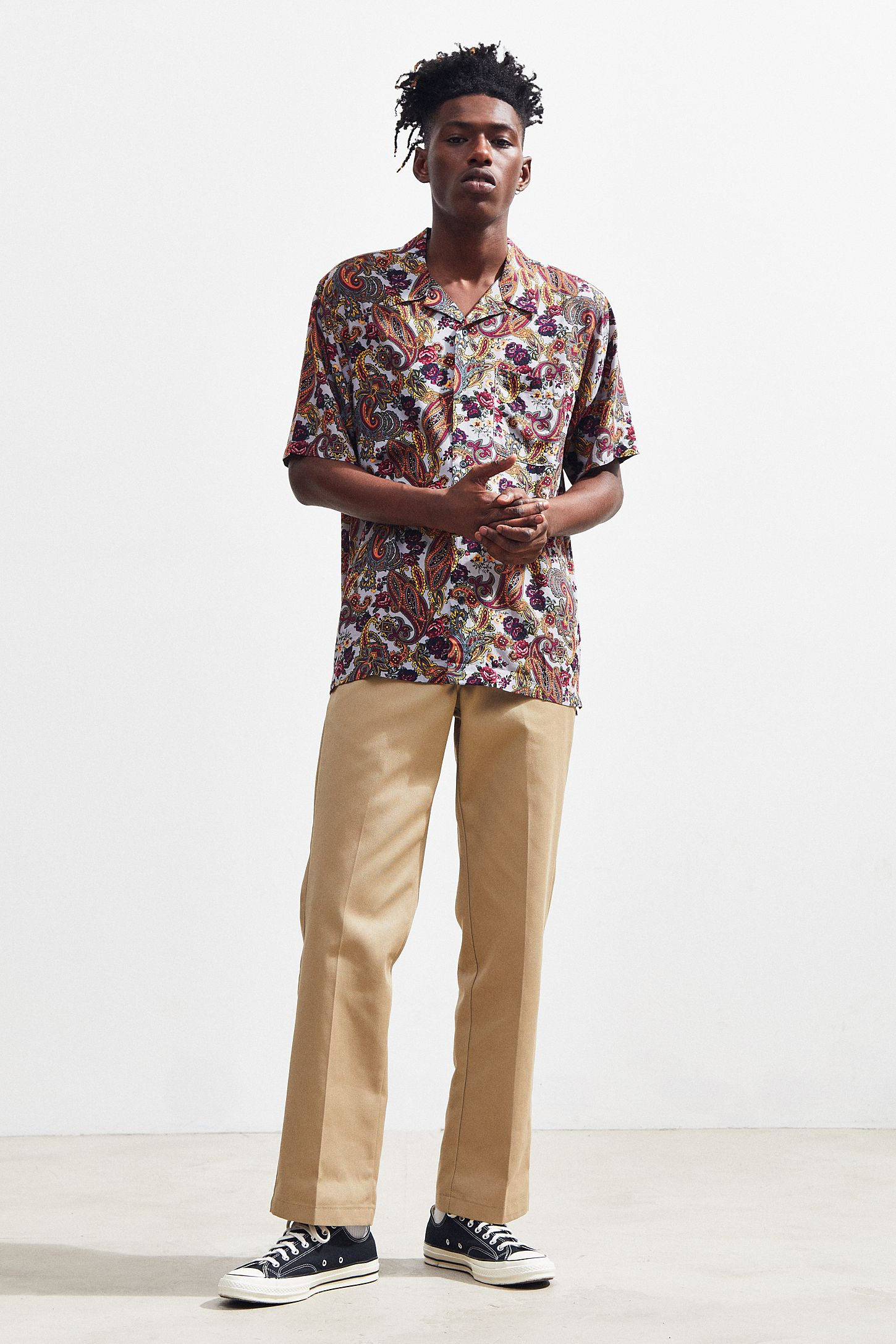 Uo Ornate Paisley Rayon Short Sleeve Button Down Shirt Urban