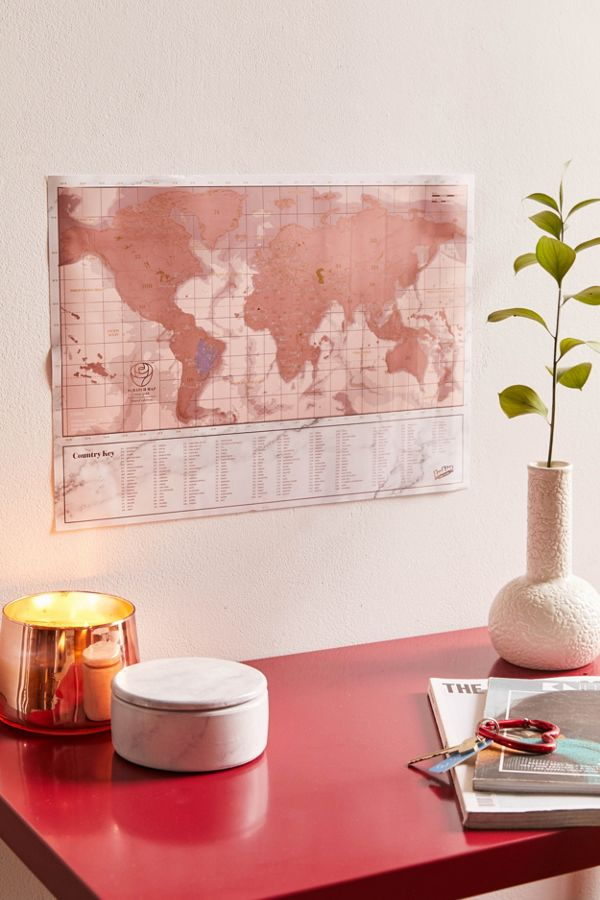 Gold World Map Poster.Rose Gold World Map Scratch Off Poster Urban Outfitters Canada