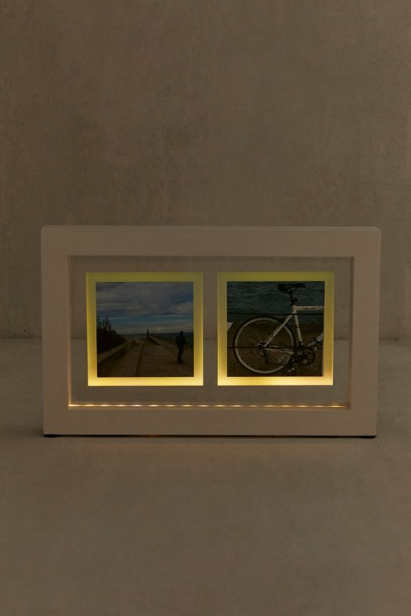 Slide View 1 Light Up Polaroid Duo Picture Frame