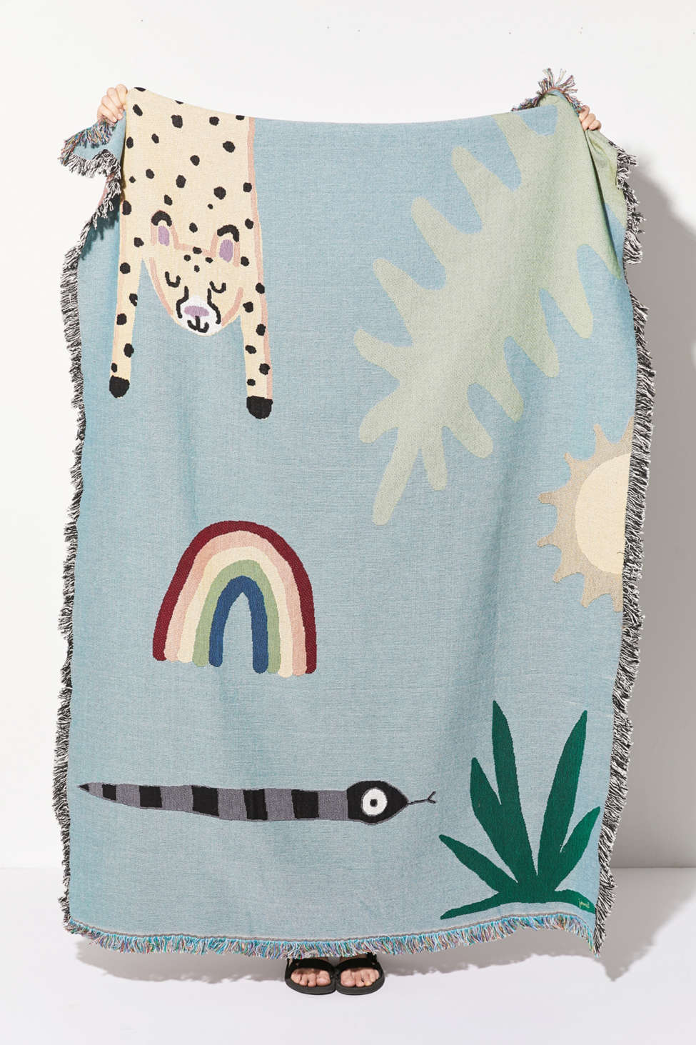 Slide View: 1: Jarmél By Jarmel For UO Happy Buddies Woven Throw Blanket