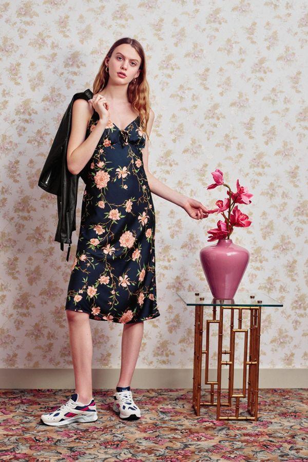 UO Betsy Satin Tie Front Midi Dress