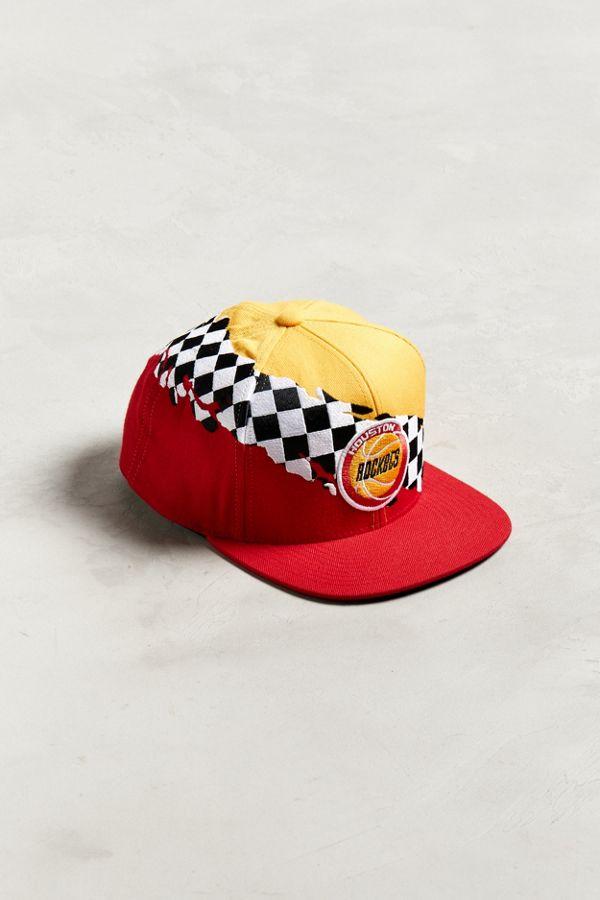 Mitchell   Ness Houston Rockets Checkered Snapback Hat  33cf9115270