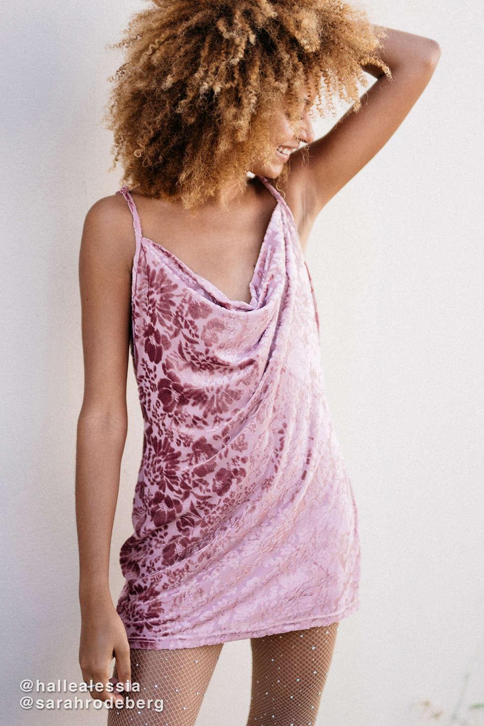 UO Burnout Velvet Cowl Neck Mini Dress